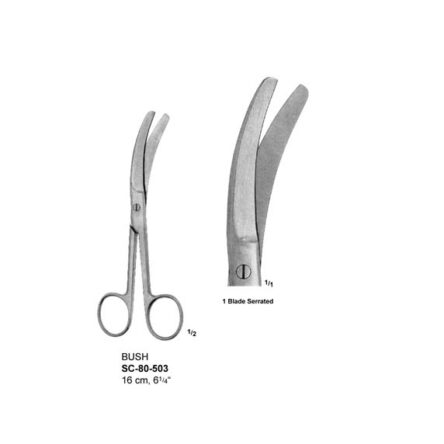 BUSH UMBILLICAL CORD SCISSORS – 1 BLADE SERRATED – 16 CM